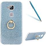 "Huawei G8 Funda, Creativo Transparent CLTPY Huawei G8 Bling Brillo TPU Cubrir con Soporte Giratorio de 360 Grados, [2 en 1] Hibrido Fina y Ligera Caso Alta Flexibilidad y Resistente a los Arañazos Case para 5.5"" Huawei G8/GX8 + 1 x Aguja - Azul 1"