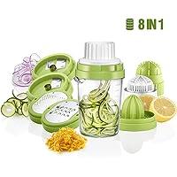 Osaloe Spirale per Verdure  Tagliapasta a Spirale 8 in 1 Spremiagrumi per Carote  Cetrioli  Zucchine  Formaggio  Cioccolato  Arancia  Limone  Bacche ECC   Verde
