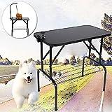Schwarz Hundepflege Tisch Trimmtisch Schertisch Pflegetisch für Hunde Katze Verstellbar