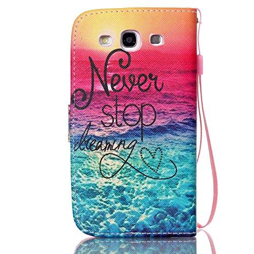 Meet de Samsung Galaxy S3 i9300 i9305 Bookstyle Étui Housse étui coque Case Cover smart flip cuir Case à rabat pour Galaxy S3 i9300 i9305 Coque de protection Portefeuille - this iphone is locked slide Never stop dreaming