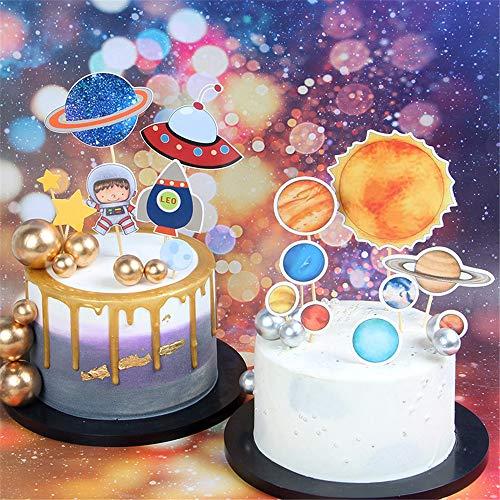 GLITZFAS Kuchen Toppers Set DIY Cupcake Toppers Planet Weltraum Kinder Astronaut Kuchendekoration für Geburtstag Party