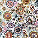 Tela por metros de loneta resinada - Mantelería antimanchas - 140 cm ancho - Largo a elección de 50 en 50 cm | Mandalas. Multicolor, blanco