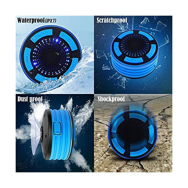 BassPal Shower Speaker, IPX7 Waterproof Portable Wireless Bluetooth 4.0 Speakers with Super Bass and HD Sound, Perfect Speaker for Beach, Pool, Kitchen & Home 2