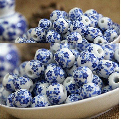 Applique Perlen (YOIL Exquisite und Kompakte Schmuck Dekoration DIY Blau und Weiß Porzellan Perlen Handmade Applique Keramik Perlen)