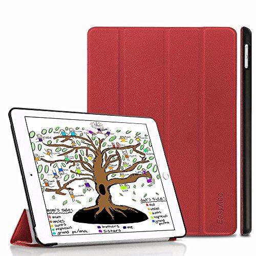 EasyAcc Hülle für iPad 9.7 2018/2017, Ultra Dünn Smart Cover mit Automatischem Schlaf Funktion und Standfunktion - Hochwertiges PU Leder Hülle Kompatibel für iPad 2018/2017 9.7, Rot