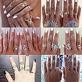 chengyida 38pcs/Set Turco Plata Incrustaciones De Aleación De Color Verde Cuentas dedo uñas anillos midi Knuckle anillos para las mujeres Boho fiesta joyas