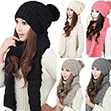 LEORX - Femme - Ensemble d'hiver en tricot écharpe et bonnet - Noir