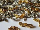 100 Engelflügel Flügel Perlen Mix Metall Silber/Gold Diverse Größen und Formen