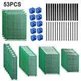 53pcs Set de Tableros de PCB, Dioxide 23x Doble Cara Placa de PCB Prototipo, 6x8 5x7 4x6 3x7 2x8 cm, 10x 2,54mm Sola Pines Macho Conectores,10x Conectores Hembra y 10x Bloque de Terminales Enchufables