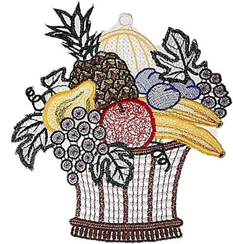 Plauener Spitze  Fensterbild Obstkorb 19x21 cm + Saugnapf Früchte Spitzenbild