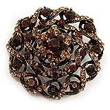 kuppelförmig Bernstein farbige Kristall Corsage Brosche (Antik Goldfarben)