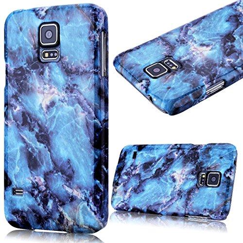 GrandEver Custodia Rigida per Samsung Galaxy S5, Design Marmo Modello UltraSlim Dura PC Protettiva Cover Case Della Protezione Anti-urto - Blu
