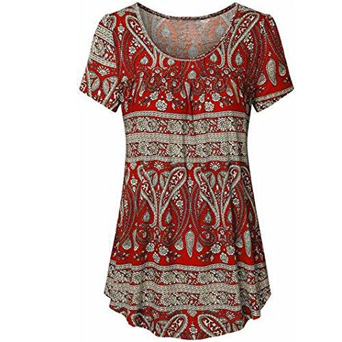 TITIU Damen Scoop Neck Plissee Large Code Kurzarm Bluse Top Tunika Shirt Tank(Rot,XL) (Scoop Neck Sweatshirt Fleece)