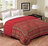 #8: Shopnetix Jaipuri Razai / Rajai Double Bed Cotton Rajasthani Sanganeri Floral Print Quilt Blanket (85 Inches X 100 Inches) (Maroon, Double Bed)