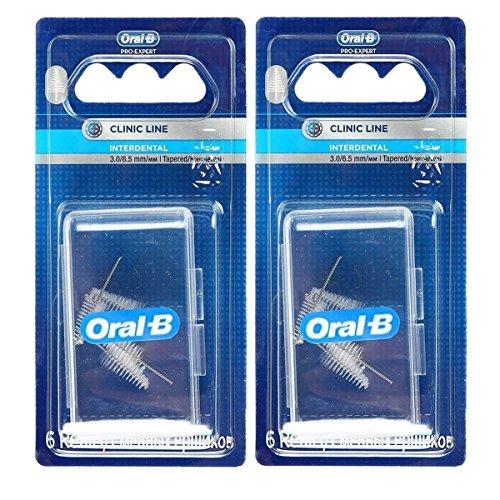 Oral-B Pro-Expert manuel conique/conique Clinic Line remplacements de tête de brosse interdentaire fine 3-6,5mm-2Lot de 6recharges (total 12)