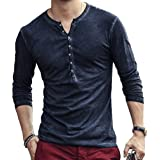 Hombre Cuello En V Camisetas Manga Larga Botón En Slim para Camisa Ocio Color Sólido La Moda Blusa Superior Retro Henley Cami