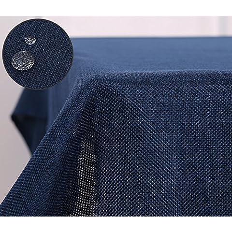 Deconovo Lino Look Mantel Rectangular Impermeable 130 X 160 Cm Azul Marino