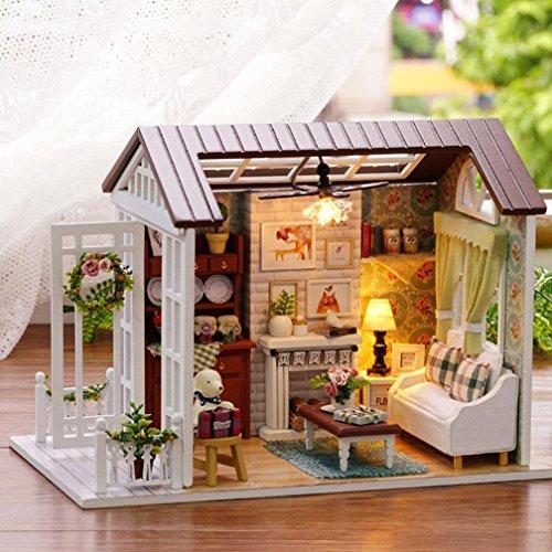 cinnamou 3D Puzzle - kreatives Geschenk Spielzeug - DIY Holzhaus mit Möbel - Handwerk Miniatur Box (B)