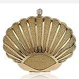 La última Bolsa multifunción de 2019 Mini monederos Seashell para Mujeres Bolsos de Hombro Bolso de Noche de Cadena de Perlas (Color : Oro, tamaño : Free Size)
