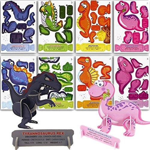Carpeta® - 8 x Dino Puzzle 3D ┃ Mitgebsel ┃ Kindergeburtstag ┃ T-Rex ┃ Kinder lieben das Dinosaurier Basteln (Für Kinder T-rex-informationen)