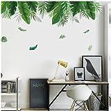 Maxpex 150x70cm Sticker Mural Bricolage, Style Minimaliste Nordique Feuille Verte Sticker Mural Plante Verte De Jardin Sticke