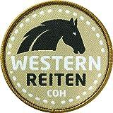 2 x Western Abzeichen gewebt 60 mm/Pferd Reiten Western-Reiten/Reitsport Reitabzeichen/Aufnäher Aufbügler Flicken Sticker Patch/Cowboy Horseback Riding USA REIT-Ausrüstung Reitschule Stiefel