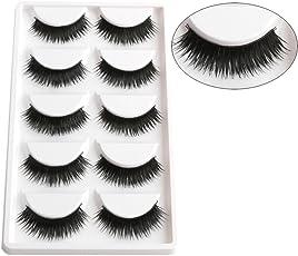 AGE CARE Smoky Soft Natural Black Thick Long False Eyelashes Extension Eye Makeup set- 5 Pairs
