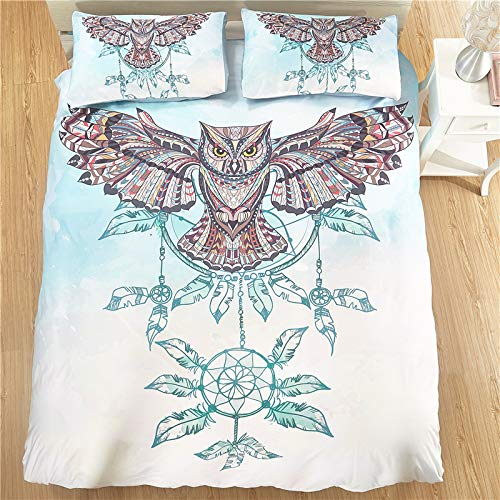 JSDJSUIT Bettwäsche gesetzt Bettwäsche Set Eule Windspiel Tribal Elefant Bettwäsche SetMandala Golden Indian Design Bettbezug Bett Set-Twin Set 4tlg