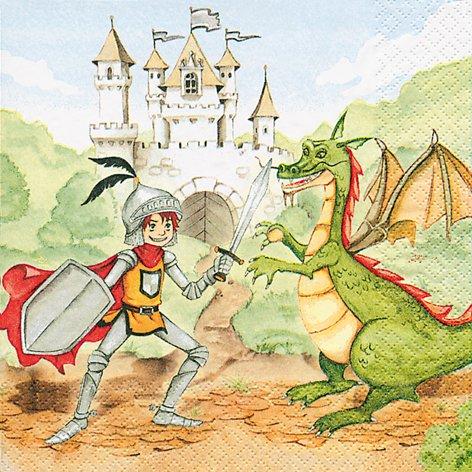 ng your dragon – Ritterkampf / Ritter / Drachen / Kindergeburtstag 33x33cm (Farbige Servietten)
