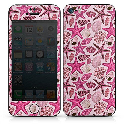 Apple iPhone SE Case Skin Sticker aus Vinyl-Folie Aufkleber Seestern Muschel Meerestiere Muster DesignSkins® glänzend