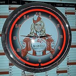 Neon reloj–Pinup móvil Oil de gasolina Sign Garaje Taller–Reloj pared iluminado Neon Rojo
