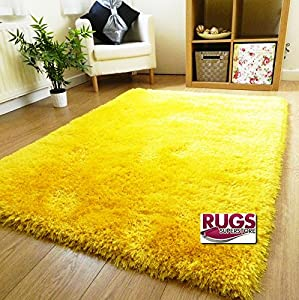 Yellow Thick Silky Soft Hand Tufted Shaggy Rug High Quality 6cm Pile (5 Sizes Available) from RUGS SUPERSTORE