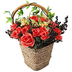 Idea Regalo - RERXN, cesto di fiori artificiali in seta, decorazione per casa, matrimonio, festa Red