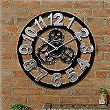 ufengke Rustikal Vintage Silber Eisen Wanduhr mit Arabischen Ziffern - Industrie Stil Ausrüstung Ohne Tickende Wanduhr Dekor ca. Ø 40cm