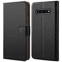 HOOMIL Premium Leather Flip Wallet Phone Case Cover for Samsung Galaxy S10 Plus - Black