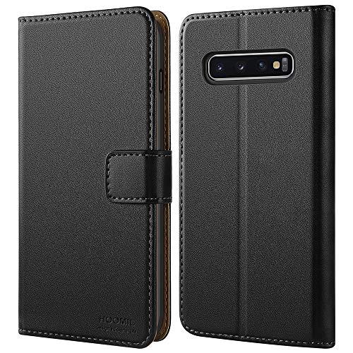 HOOMIL Handyhülle für Samsung Galaxy S10 Plus Hülle, Premium Leder Flip Schutzhülle für Samsung Galaxy S10 Plus Tasche, Schwarz
