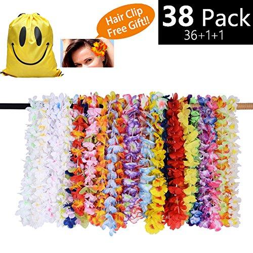 MIMIEYES Tropische Hawaiianische Luau Blume Lei Bunte Halsketten Sommer Girlanden für Beach Theme Party Gefälligkeiten (36 Stück)