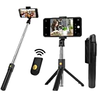Bluetooth Extendable Wireless Ultra-Compact Selfie Stick with Remote and Tripod Stand for iPhone, Samsung, All Android…