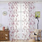 URIJK Transparent Gardine Schlaufen Vorhang aus Voile Rose Stickerei Schlaufenschal Dekoschal für Wohnzimmer Schlafzimmer Studierzimmer (1 Stück)