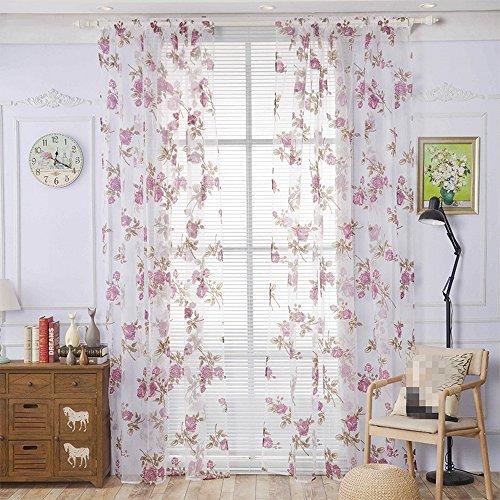 Urijk Transparent Gardine Vorhang aus Voile Fenster Dekoration Stickerei Schlafenschal Dekoschal für Wohnzimmer Schlafzimmer Studierzimme,100x200cm, 1 Stück