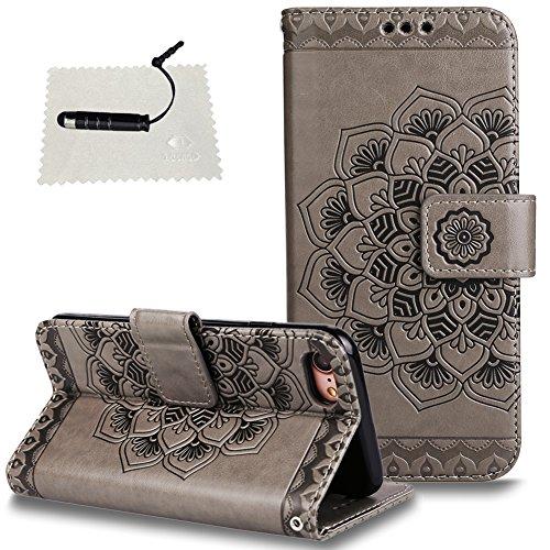 TOCASO iPhone 7/8 Hülle, Leder Schwarz Flip Wallet Case Glitzer Blume Kartensteckplätze Schutzhülle HandyHülle iPhone 7/8 Tasche Standfunktion und Magnetverschluß-1