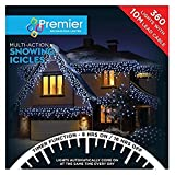 Premier Decorations - 360 Multi Action Snowing Icicles LED Lights with Timer - Warm White