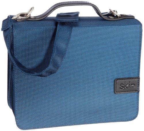 SchönfelderSkin in Farbe blau mit Buchstütze: Buchhüllen-Tasche mit Buchstütze und Tragegurt in Material Nylon/Leder, Farbe blau -