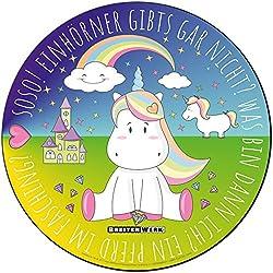 Einhorn Mauspad mit rutschfester Unterseite in Rosa/Regenbogenfarben von BREITENWERK® - rundes Mouse-Pad als Geschenk für kleine und große Mädchen