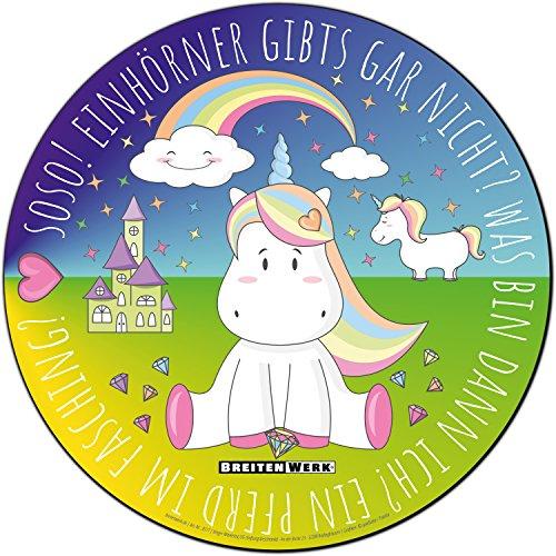 Preisvergleich Produktbild Einhorn Mauspad mit rutschfester Unterseite in Rosa / Regenbogenfarben von BREITENWERK® - rundes Mouse-Pad als Geschenk für kleine und große Mädchen