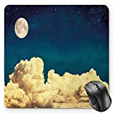 HYYCLS Night Sky Mauspads, Fantasy Sky Stars Full Moon and Fluffy Clouds Vintage Style Artwork Picture, Standard Size Rectangle Non-Slip Rubber Mousepad, Dark Blue White