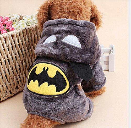 Flanell-Vlies Wintermantel Jumpsuit Outfits Batman Pyjamas Pet Cat Puppy Small Dog Hoodie-Mantel-Strickjacke Puppy Teddy Herbst-Winter-Kleidung Kleidung Halloween-Kostüm-Dunkelgrau S