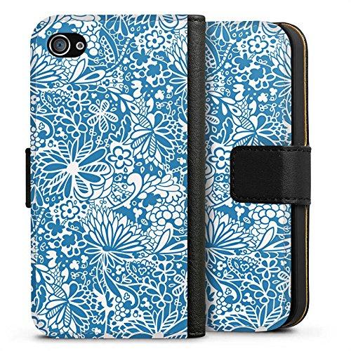 Apple iPhone X Silikon Hülle Case Schutzhülle Muster Ornamente Blumen Sideflip Tasche schwarz
