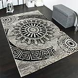 Tapis Classique à Motifs Ornements Circulaires Chiné Moucheté Gris Noir, Dimension:80x150 cm