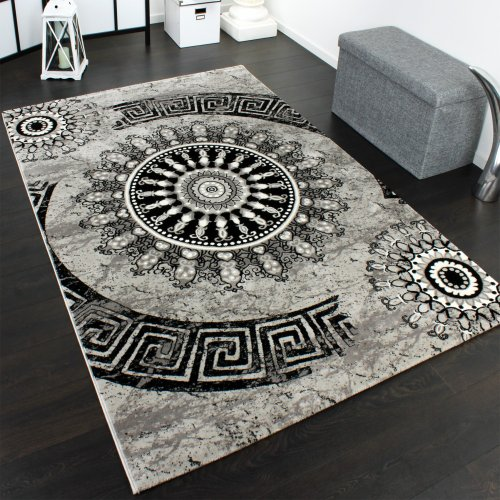 Carpet With Classic Pattern Circle Ornaments In A Mixture Of Grey And Black, Size:200x290 cm